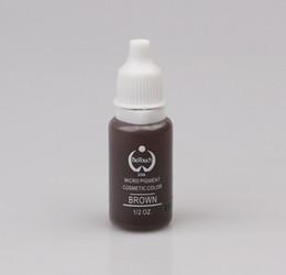 Губы коричневые онлайн-Wholesale-2pcs brown 15ml/bottle  permanent  ink cosmetic tattoo ink for eyebrow eyeliner lip
