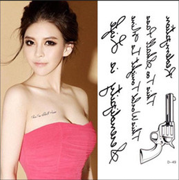 Wholesale Guns Fakes - Wholesale- RC2216 Women Sexy Chest Water Transfer Tattoo Decals Waterproof Temporary Tattoo Stickers Letters Gun Body Art Fake Tattoo