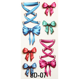 $enCountryForm.capitalKeyWord NZ - Wholesale-Nice 3D Body Art Sleeve Arm Hand Stickers Glitter Temporary Flash Tattoos Small Fake Bowknot Bows Waterproof For Body Painting