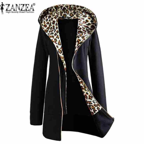 Wholesale-Plus Size M-XXL Autumn Winter Fashion Womens Leopard Pattern Zipper Up Hooded Coat Jacket Long Sleeve Outwear