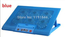 Wholesale Touch Screen Laptop Notebook Computers - Wholesale-6Fans 2USB Screen touch Design Cooler Notebook Laptop Computer Cooling Rack Fan Base Plate black blue white for 12-17 inches