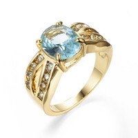 Wholesale Wholesale Aquamarine Rings - Wholesale-Size 7 8 9 Women Fashion Jewelry Aquamarine Stone 10KT Yellow Gold Filled Free Shipping RY0149