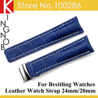 Wholesale Breitling Crocodile - Wholesale-Handmade 24mm Blue Crocodile Grain Genuine Italy Leather Watch Band Strap & 20mm Clasp Buckle for Breitling Watch Free