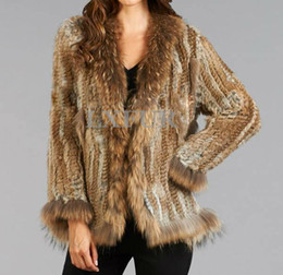 Discount knit dog collar - Wholesale-Real Lady Knitted Rabbit Fur Coat With Raccoon Fur Trim Jacket Cuff Fur Coat Coats Hot Selling Spring Fur Outw