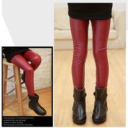 Wholesale Girls Leather Pants For Kids - Wholesale-3 Color 2-12 Years Baby Girls Leather Pants High Quality Elastic Waist Skinny Legging For Girls 2015 Spring Kids Girls Trousers