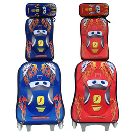 Wholesale Eva Luggage - Wholesale-EVA CARS school bag 3 wheeled school bags backpack trolley luggage cars backpack children luggage set with backpack for boys