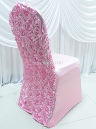 Wholesale Wholesale Flower Chair Covers - Wholesale-20 Pieces Free Shipping spandex stretch lycra chair cover with 3D satin rosette flower back