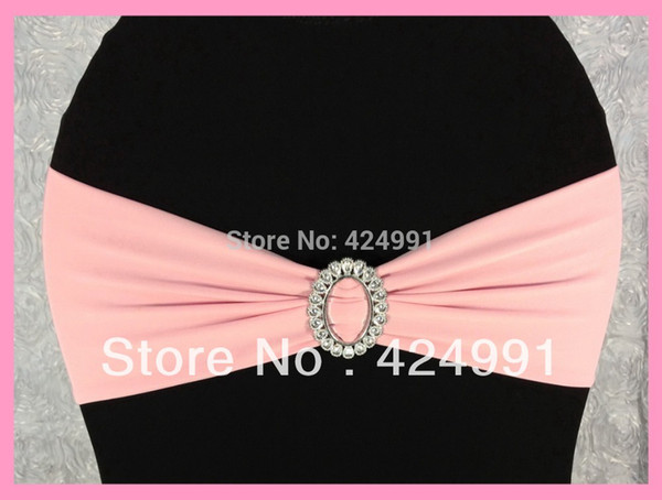 Wholesale-100pcs Baby Pink Lycra Chair Bands&Sash with Oval buckle ,Double Layer Lycra Bands&Sash for Weddings Events Decoration