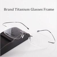 Wholesale Titanium Rimless Glasses Wholesale - Wholesale- Chashma Brand Brand Titanium Optical Glasses Women and Men Fashion Rimless Ultra Light 2 G Only Optical Glasses Frame