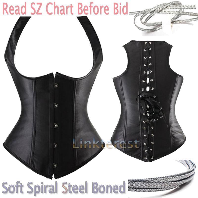 2f5d3f7584 2019 Wholesale X Sexy Steampunk Black Lace Up Satin Spiral Steel Boned  Underbust Waist Cincher Plus Size Waist Training Corset Gothic S 6XL From  Red2015