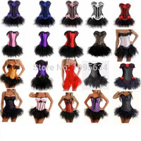 Wholesale sexy corset halloween costume - Wholesale-Free shipping Burlesque Corset & tutu  skirt Fancy dress outfit Halloween Costume High Quality S-6XL