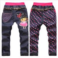 neue mode jeans mädchen jungen großhandel-Großhandels-Großverkauf 2015 Frühlingsherbst-neue Erzeugnisart und weisekinder Kleidungs-Babybärjeans-Karikaturjungen-Mädchenjeans 4pcs / lot