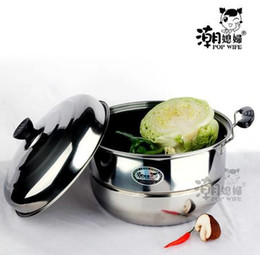 Wholesale Electromagnetic Stove - Wholesale-Stainless steel single steamer single tier soup pot quality pot cooking pots and pans steamer electromagnetic furnace gas stove
