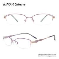 Wholesale Wholesale Designer Optical Frames - Wholesale- Fashion Designer Eyeglasses Women Eyewear Metal Half Rim Oval Optical Frame For Glasses Prescription