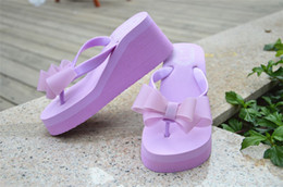 Wholesale Fabric Thong Sandals - Wholesale-Ladies Flip Flops High-heeled Slippers Women Summer Beach Platform Thong Wedge Sandals Bowknot Shoes Holiday Pink