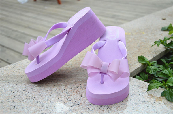 Wholesale-Ladies Flip Flops High-heeled Slippers Women Summer Beach Platform Thong Wedge Sandals Bowknot Shoes Holiday Pink