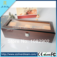 Wholesale Display Solid Wood - Wholesale-High Quality Luxury Solid Wood Rosewood Watch Box 5 Grids Watch Case Watch Display Packaging Gift Box for Watches