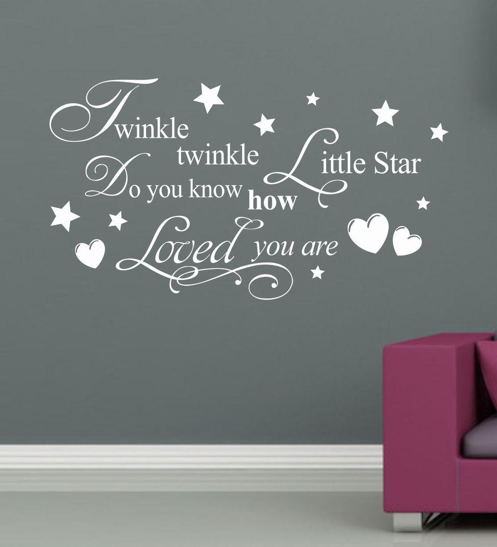twinkle twinkle little star wall stick baby room decor love poster
