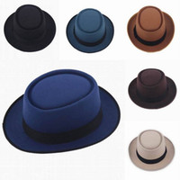Wholesale Wholesale Woman Dress Wool Hats - Wholesale-New Fashion Women Wool Blend Porkpie Pork Pie Fedora Upturn Brim Derby Dress Hat Bowler Trilby Unisex Fashion Caps