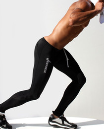 Discount running apparel - Wholesale-1pcs Aqux men yoga long pants soft Polyester sports gym fitness cycling running tight male Spring autumn joggi