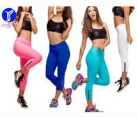 Wholesale colorful running tights resale online - MS093 Women s Colorful Fitted Knee Tight Yoga Running Workout Sports GYM Leggings Capri Pants with Zipper