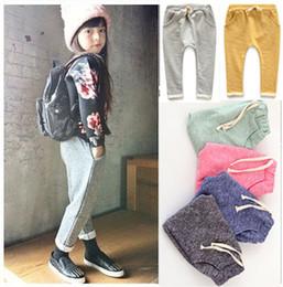 Wholesale Cotton Leisure Trousers - Wholesale-Children's 100%cotton leisure kids joggers pants turnup boys trousers kids pants girls jeans meninas baby pants boys harem