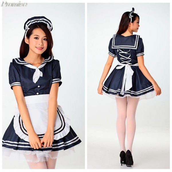 Wholesale-Hot Cosplay lolita maid waiter costume Halloween Costumes for Women role-playing classic black and white girl dress clothes