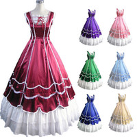 belle kostüm kadınlar toptan satış-Toptan-Ücretsiz Kargo Yeni Kadınlar Gotik Lolita Elbise Cadılar Bayramı Kostümleri Victoria Elbise Ortaçağ Elbise Southern Belle Kostümleri Özelleştirilmiş