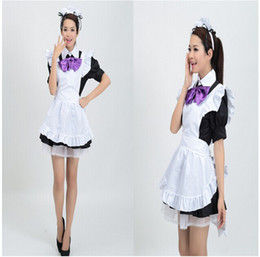Wholesale Japanese Princess Costumes - Wholesale-Lolita Dresses Bow Cute Princess Dress Cosplay Japanese Maid Clothes Short-sleeved Patchwork White Costumes Roupa Mujer L688