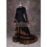 vestido vitoriano marrom venda por atacado-Atacado-Custom made preto e marrom Medieval vestido adulto traje mulheres góticas victorian vestido de baile vestido de festa vestido de halloween
