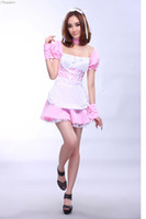Wholesale Japanese Maids Pink - Wholesale-New Arrival Cosplay Japanese lolita maid costume Halloween Costumes for Women party sweet girl dress nightclub female clothes