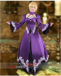 Wholesale Saber Fate Zero - Wholesale-New Fate Zero Saber alter Purple Cosplay Lolita Dress Free Shipping