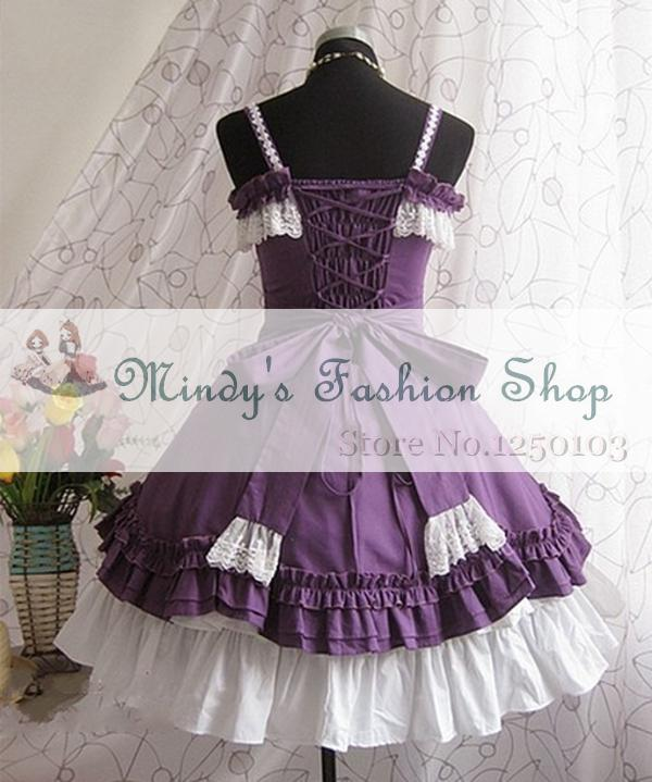 3b5800c673738 Wholesale-Free shipping Custome-made Purple Sleeveless with Bows Multilayer  Cotton Sweet Lolita Dress