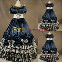 Wholesale Cheap Victorian Dresses Costumes - Wholesale-2015 New Arrival Cheap Christmas victorian Gothic Dress Civil War Southern Belle Gown Belle Cosplay Costume V064
