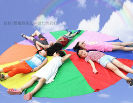 Wholesale Gymnastic Cloth Children - Wholesale-2m Child Kid Sports Development Outdoor Rainbow Umbrella Parachute Toy Jump-sack Ballute Play Parachute