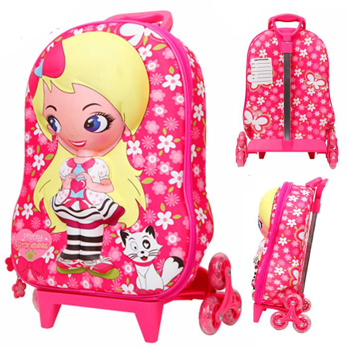 Wholesale 16 Girls' Travel Rolling Bag 3d Princess Rolley Suitcase ...