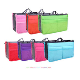 Wholesale Ipad Purse Organizer - Wholesale-Portable Double Zipper Bag Insert Organiser Handbag Women Travel Purse Pouch Bag in Bag Organizer Cosmetics Ipad Storage Bag