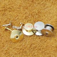 pasadores de bloqueo de latón al por mayor-Venta al por mayor-100 piezas plateado de bloqueo Tie Tac Tack guardia Pin Clutch Backs de latón para Rock Biker Nickel Gold choF102