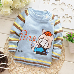 Wholesale Novelty Pigs - Wholesale-Free shipping 2015 Spring and Autumn baby boys cartoon pig knitted sweater,children pullovers,kid sweater#Z462B