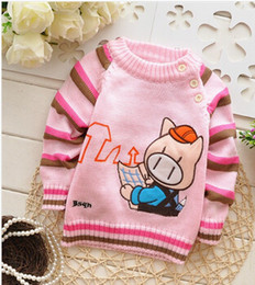 Wholesale Novelty Pigs - Wholesale-Free shipping 2015 Spring and Autumn baby boys cartoon pig knitted sweater,children pullovers,kid sweater#JZ462B