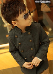 Wholesale Girls Double Breasted Suit Kids - Wholesale-2015 Children Outerwear & Coat Baby Girls Boys gilrs Spring Long Trench Suit Coats wool Double-breasted Kids Girls Jacket
