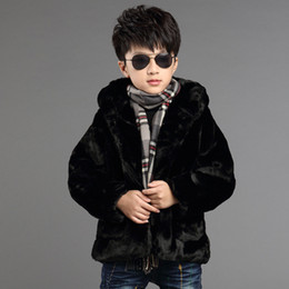 Wholesale Child Thickened Leather Jacket - Wholesale-New Winter Boy and Girl hooded Coat Children Brand Leather Grass Clothes Baby Kids Fashion Thicken Outerwear Jacket Costume