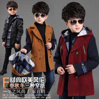 Wholesale Boy Down Liner - Wholesale-Children's clothing male child wool coat child winter thickening woolen outerwear removable liner big boy clip cotton trench
