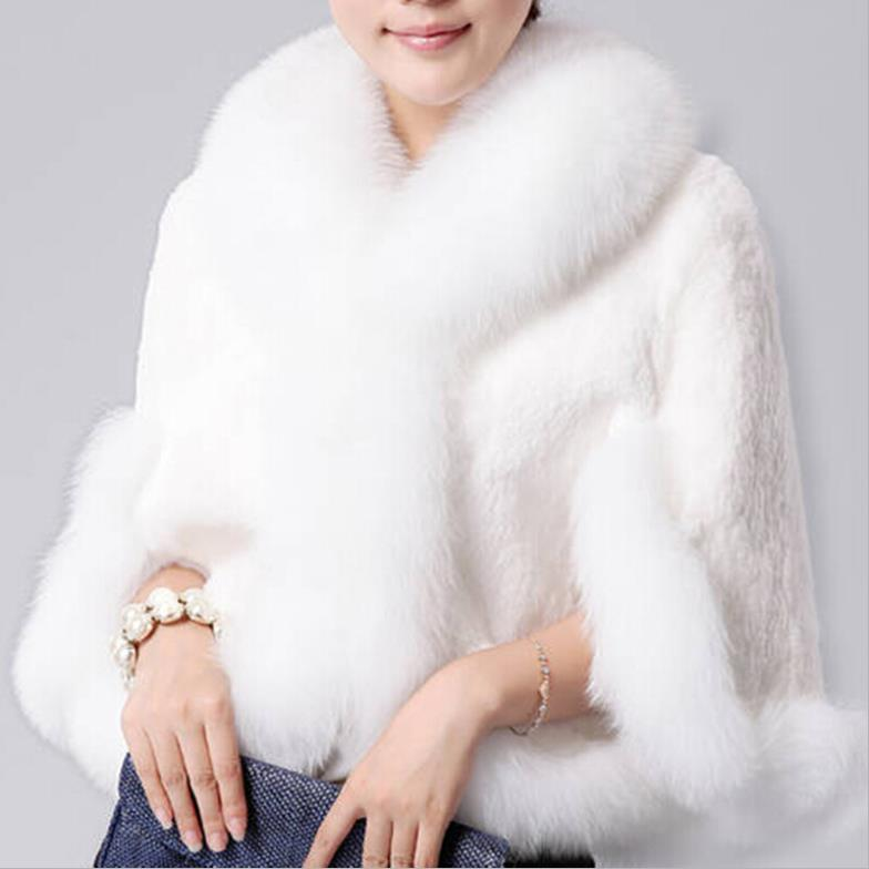 c36ccc53e52d1 2019 Wholesale 2015 Fur Faux Fur Coat Mink Hair Rex Rabbit Hair Cape Jacket  Black And White Fur Overcoat Imitation Rabbit Fur Faux Fox Collar From ...