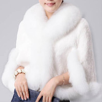 Wholesale Short Hair Mink Fur Coat - Wholesale-2015 Fur Faux Fur Coat Mink Hair Rex Rabbit Hair Cape Jacket Black And White Fur Overcoat Imitation Rabbit Fur Faux Fox Collar