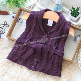 Wholesale Waistcoat Collar For Girl - Wholesale-new 2015 fashion autum children's vest baby clothing sweater vest for girls sweater waistcoat baby Outerwear