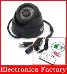 Wholesale Dome Camera Remote Control - Wholesale-Remote Control Sound 420TVL DVR Dome Cmos CCTV Security Surveillance Camera 24 IR LED TF SD Card Color 1GB-32G TV Night Vision