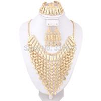 dubai altın kaplama gelin takı toptan satış-Toptan-2016 Yeni Takılar Dubai 18 K Altın Kaplama Moda Düğün Gelin Aksesuarları Kostüm Kolye Seti Afrika Kostüm Takı Setleri
