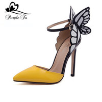kelebek yüksek topuk ayakkabıları toptan satış-Toptan-sophia webster kadın pompaları seksi marka Sivri Burun yüksek topuk kadın tasarımcı kelebek düğün parti ayakkabı kadın boyutu 35-41
