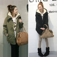 Wholesale Thicken Fleece Parka - Wholesale-Fashion Long Sleeve Thicken Fleece Hooded Parka Lady Warm Casual Winter Coat Women Jacket Outwear Green Black Plus M L XL 0098